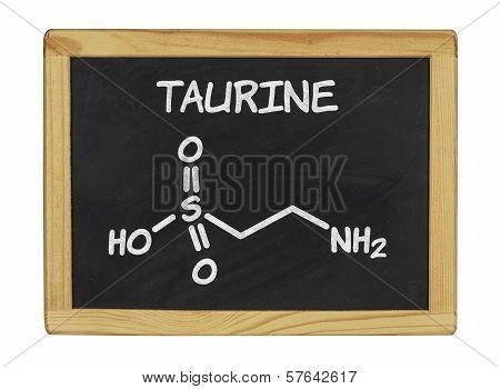 chemical formula of taurine on a blackboard
