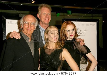 Larry David and Ed Begley Jr with Patricia Clarkson and Evan Rachel Wood  at the Los Angeles Premiere of 'Whatever Works'. Pacific Design Center, West Hollywood, CA. 06-08-09