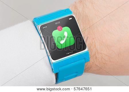 Close Up Blue Smart Watch