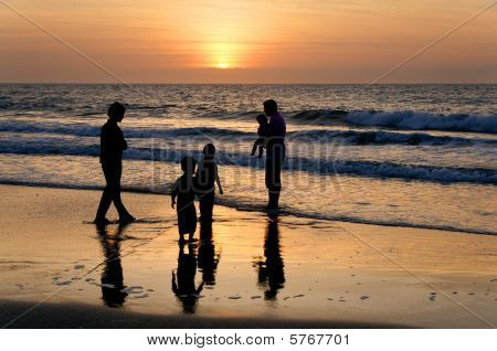 Family Of Five At The Ocean