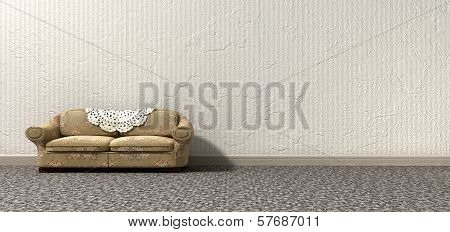 An arty look at grandma's lonely vintage sofa and interior of a bygone lonely era poster