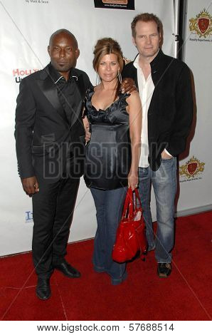 Jimmy Jean-Louis with Beth Toussaint and Jack Coleman  at the Hollyshorts Haiti Charity VIP Webisode Celebration. Kress, Hollywood, CA. 08-08-09