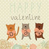 Cartoon romantic background with funny cats. Valentine card poster
