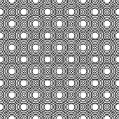 Black and White Circles Tiles Pattern Repeat Background that is seamless and repeats poster