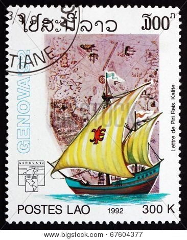 Postage Stamp Laos 1992 Map By Piri Reis
