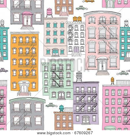 Seamless quirky brownstone homes new york city theme vintage style illustration background pattern in vector