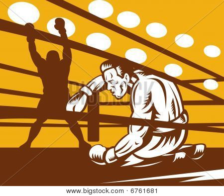Boxer down on his hunches after a knockout