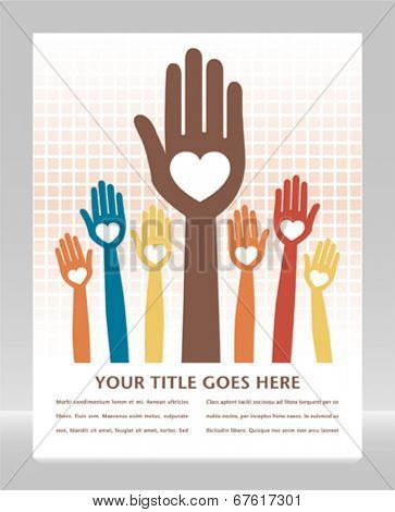Caring loving hands design with copy space.