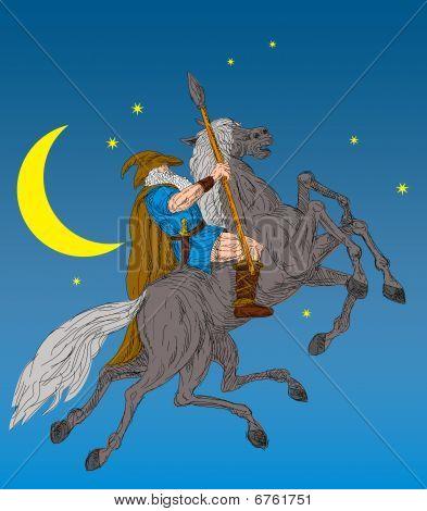 Norse God Odin riding eight-legged horse Sleipner