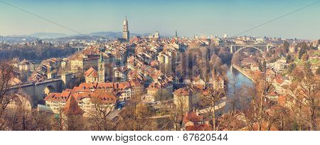 vintage panoramic view of the old town of Bern, Switzerland poster