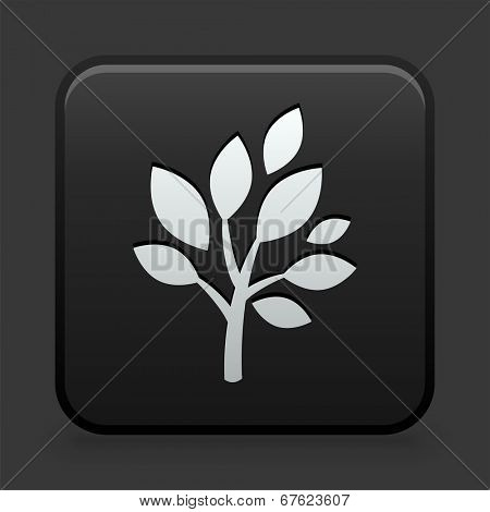 Plant Icon on Black and White Button