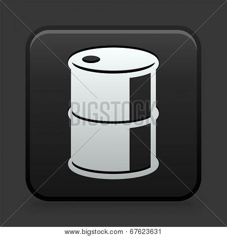 Barrel Icon on Black and White Button