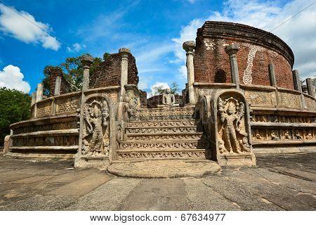 Historical Polonnaruwa capital city ruins