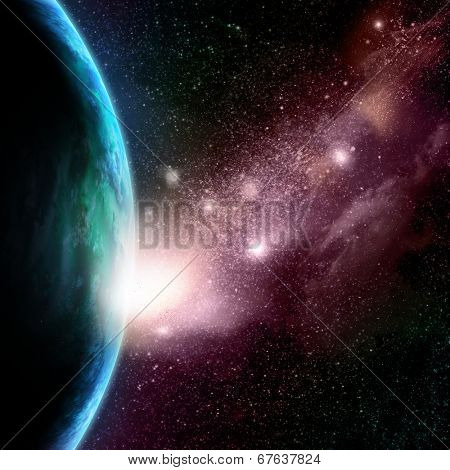 Abstract space background with stars, starfield and fictional planets