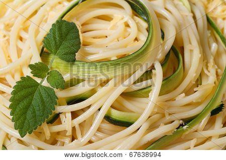Background Spaghetti Pasta With Zucchini And Mint Close-up