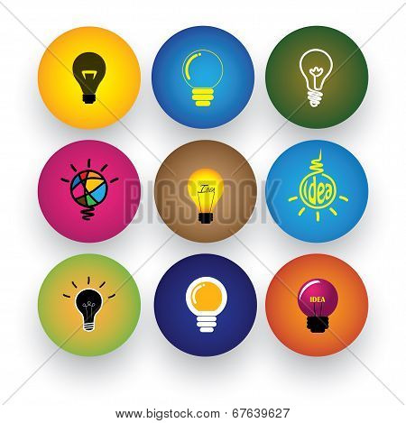 Idea Light Bulb, Brilliance, Genius, Smart, Clever Vector Icons