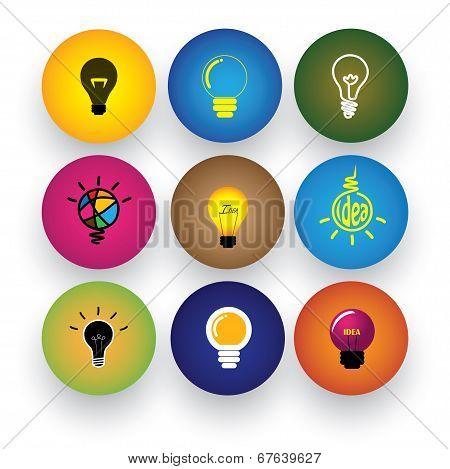 Idea Light Bulb, Brilliance, Genius, Smart, Clever Vector Icons