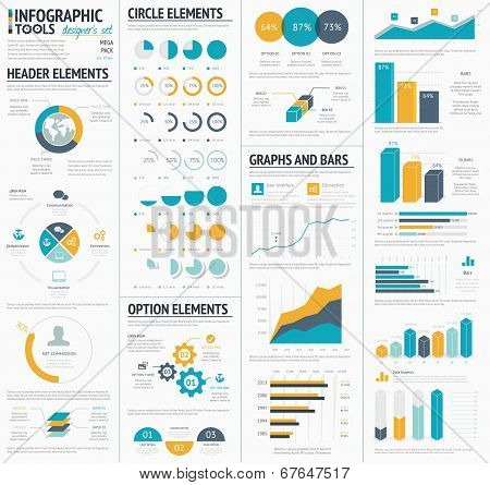 Large infographic vector elements template designers collection