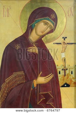 Icon Of Mother Of God Mary And Jesus Christ On The Cross