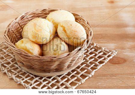 Brazilian Snack Cheese Bread (pao De Queijo) In Wicker Basket