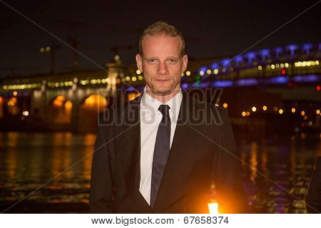 MOSCOW - JUNE, 19: Actor Yury Kolokolnikov (Styr, Game of Trones) 36th Moscow International Film Festival. Opening Ceremony at Pushkinsky Cinema . June 19, 2014 in Moscow, Russia