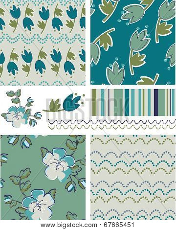 Modern Floral Vector Patterns. Use as fills, digital paper, or print off onto fabric to create unique items.