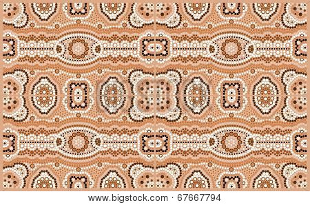 A Illustration Based On Aboriginal Style Of Dot Painting Depicting Pattern