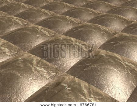 3D model of the surface of the gold squares in the form of furniture upholstery poster