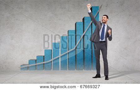 business, office, growth or success concept - happy businessman with hands up celebrating victory in front of the concrete wall with graph