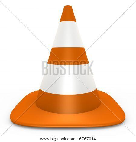 An isolated orange traffic cone - 3d image