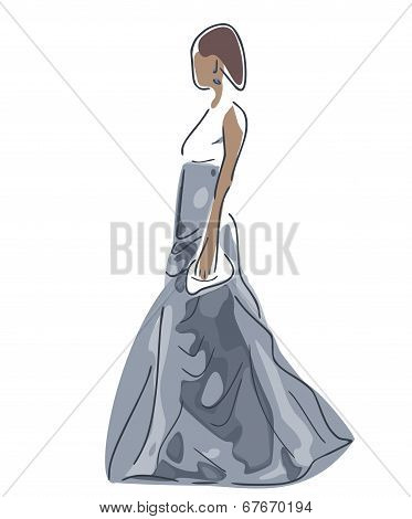 Elegant Woman In Grey Ballgown, On White