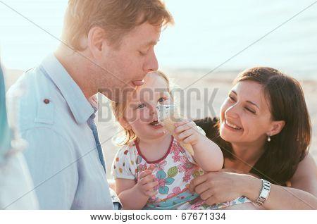 Happy Family At Summer Vacation