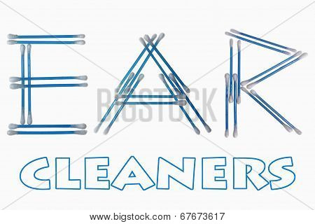 Word 'ear' Written Using Cotton Ear Cleaning Buds
