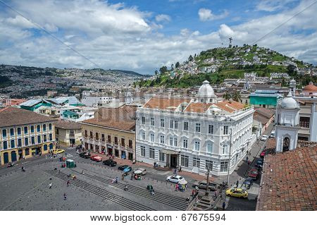 High view of a plaza and buildings, Quito Ecuador