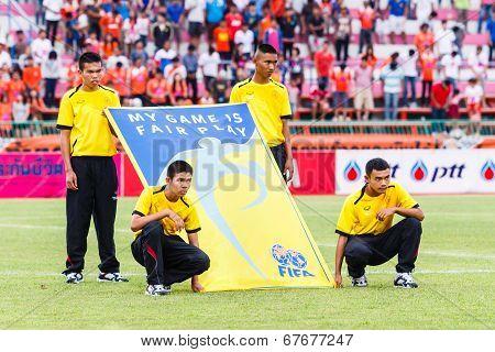 Sisaket Thailand-june 29: Unidentified People With Fifa Fair Play Flag Before Thai Premier League Ma
