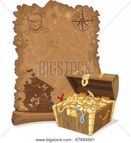Pirate scroll map and chest full of gold