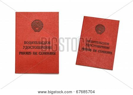 Vintage Russian(ussr) Driver License Isolated On White