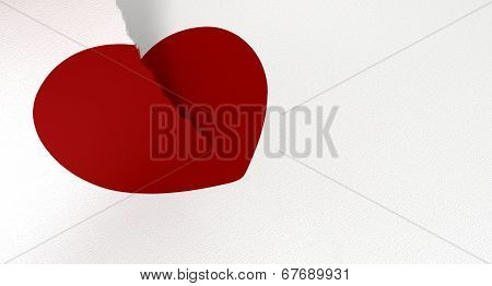 Drawn Red Heart Torn In Two