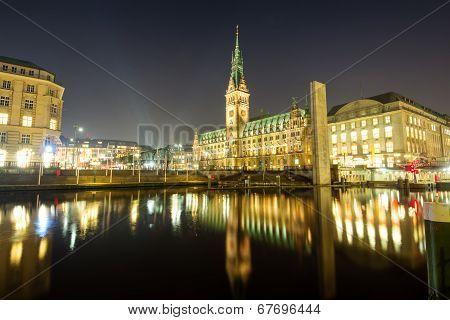 The center of Hamburg at night