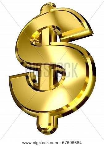 Golden Dollar Sign On White