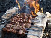 Meat of the pork barbecue on open fire with smoke poster