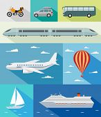 Various types of transport: car, bus, train, airoplane, air baloon, sailing boat, ship with long shadow effect. Vector set of different means of transportation. poster