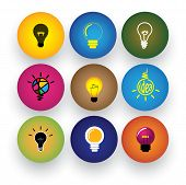 idea light bulb brilliance genius smart clever vector icons. This graphic also represents excitement inspiration enthusiasm problem solving clever solutions smart thinking poster