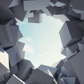Abstract tunnel to sunlight made of concrete cubes poster