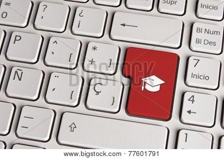 Education Concept, Graduate Hat Keyboard Key.