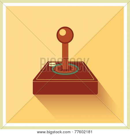 Computer Video Game Joystick on Retro Background Vector
