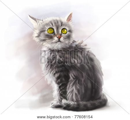 Adorable fluffy gray kitten, cute pet, cat animal - digital paint