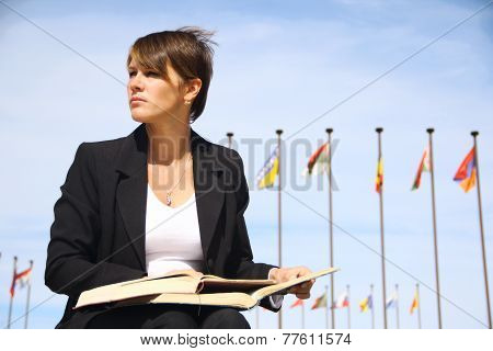 business woman with a book