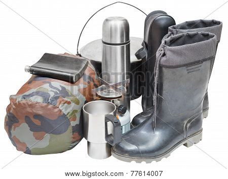 set of camping accessories with gumboots pot thermos flask can sleeping bag gas burner isolated on white background poster