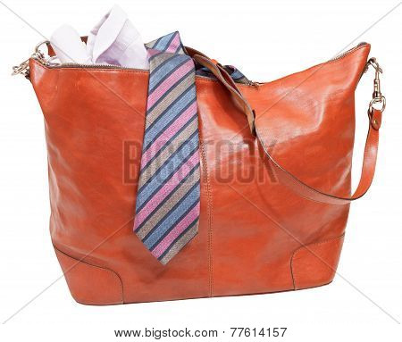 Men's Leather Bag With Shirt And Tie Isolated